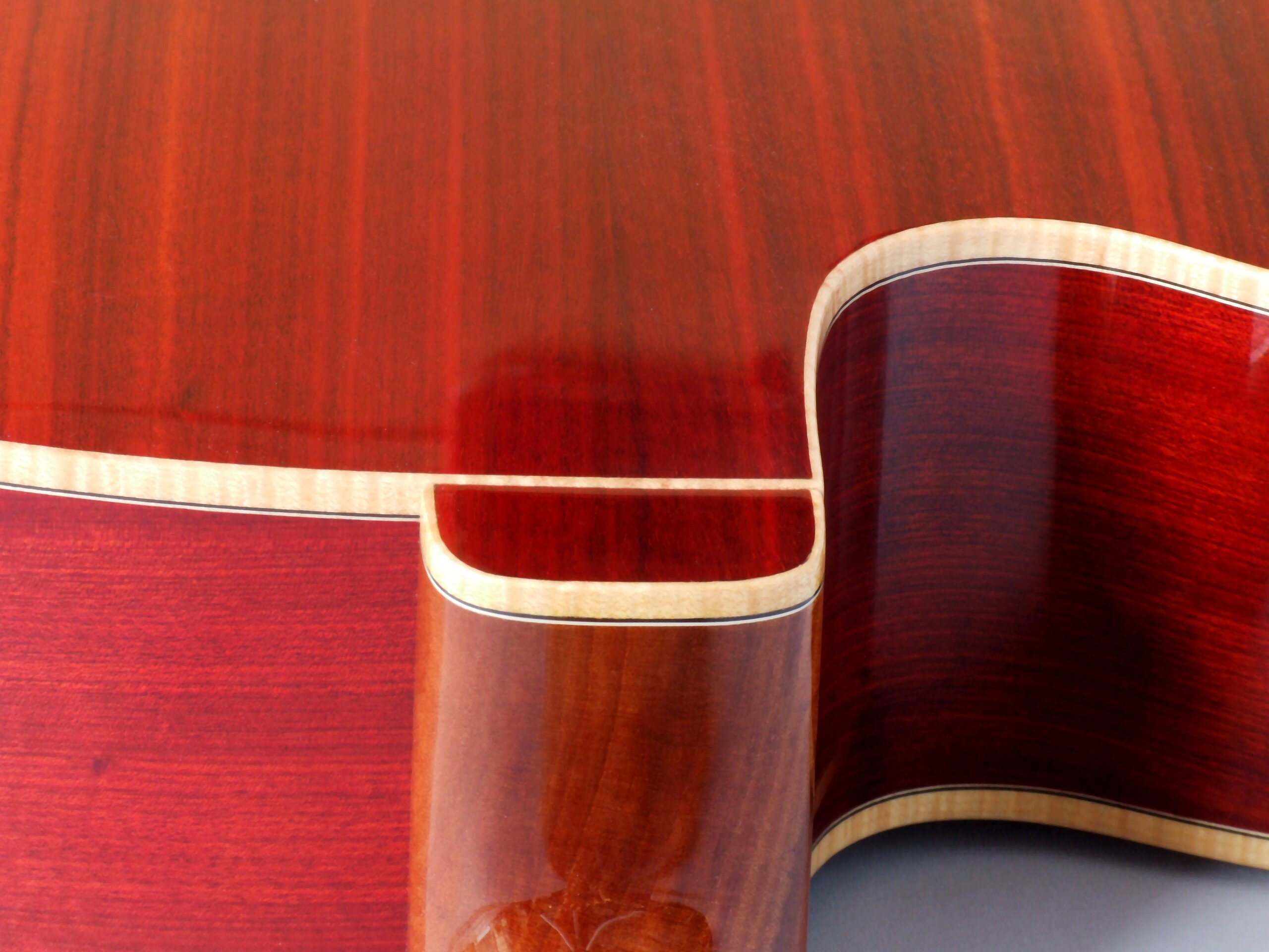 Detail of the heel cap on a bloodwood guitar with maple binding
