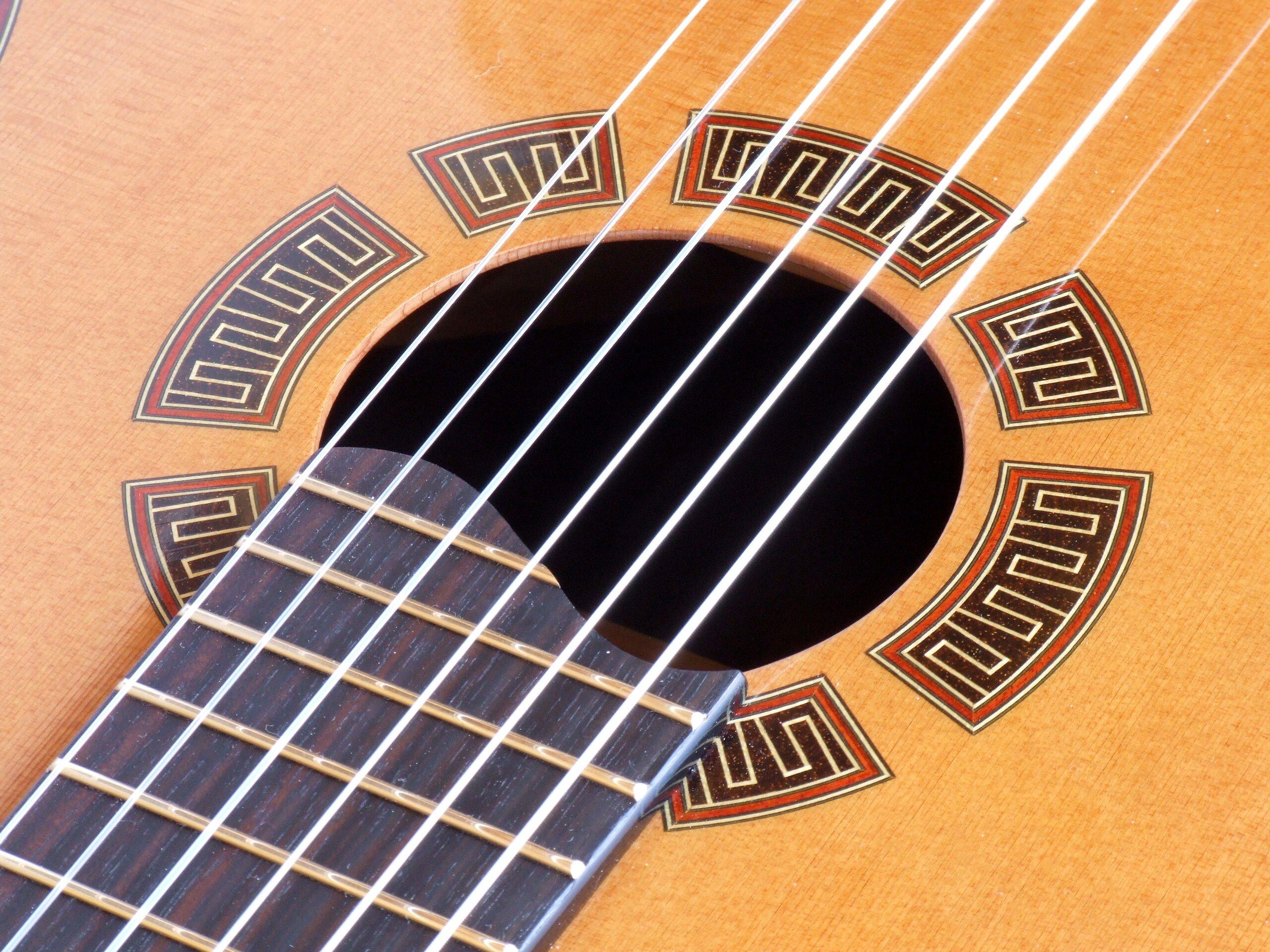 Detail of a semented rosette in a cedar classical guitar top