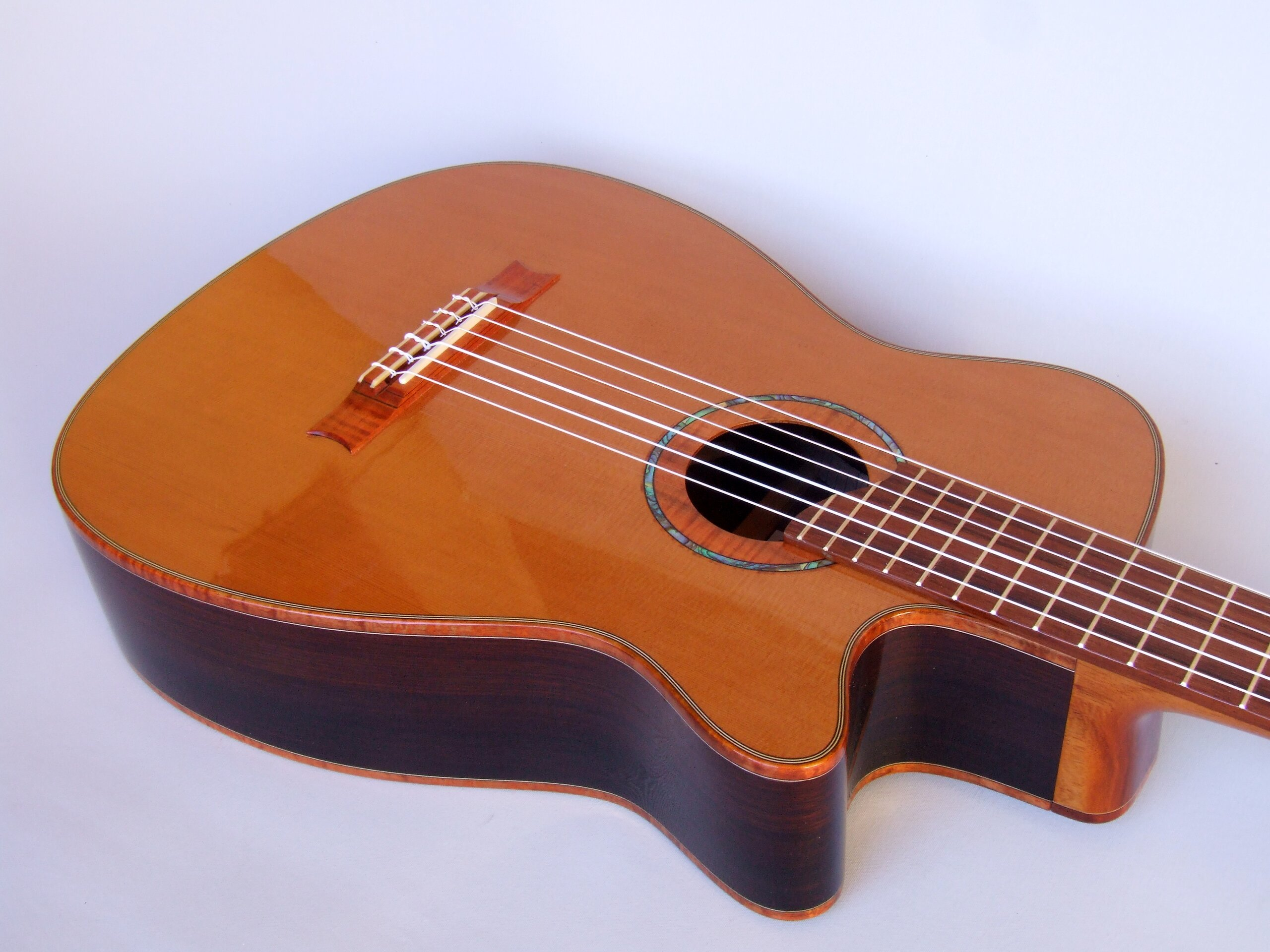 Neo-classical guitar with cutaway, cedar top, rosewood back and sides