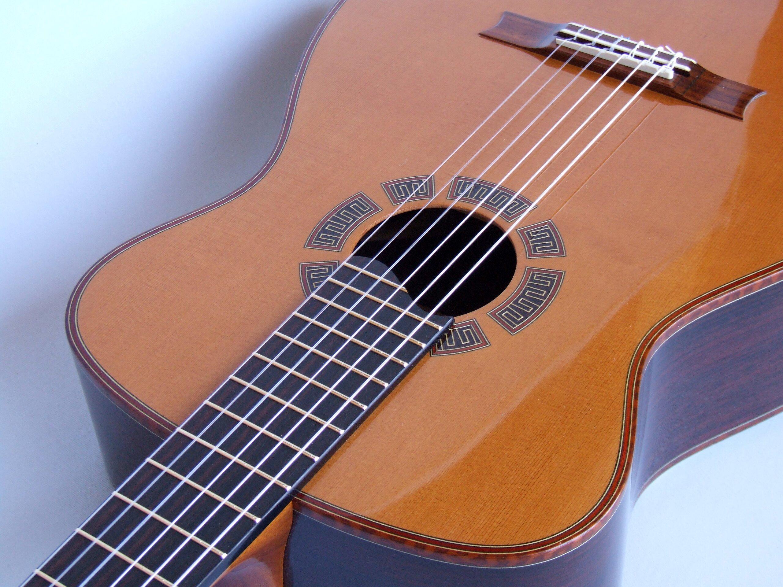 Cedar top classcial guitar with segmented rosette and snakewood bindings
