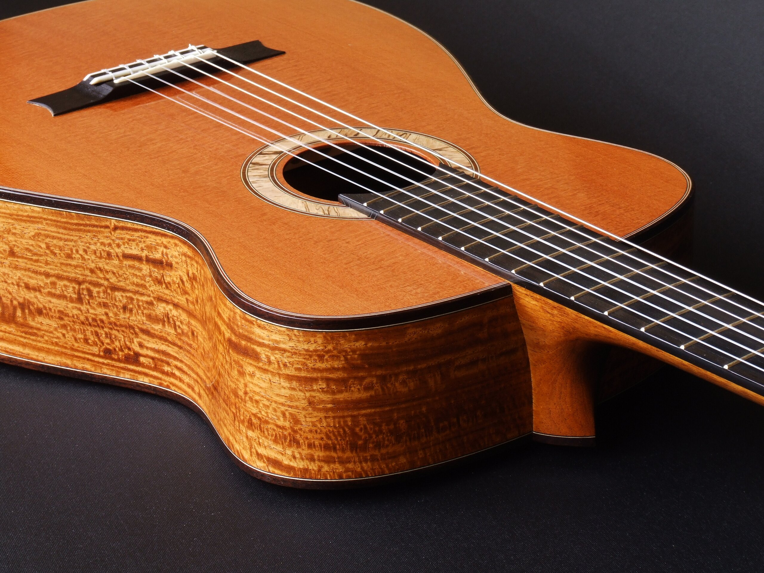 Gore redwood and New Guinea rosewood neo-classical guitar, spalted blackwood rosette