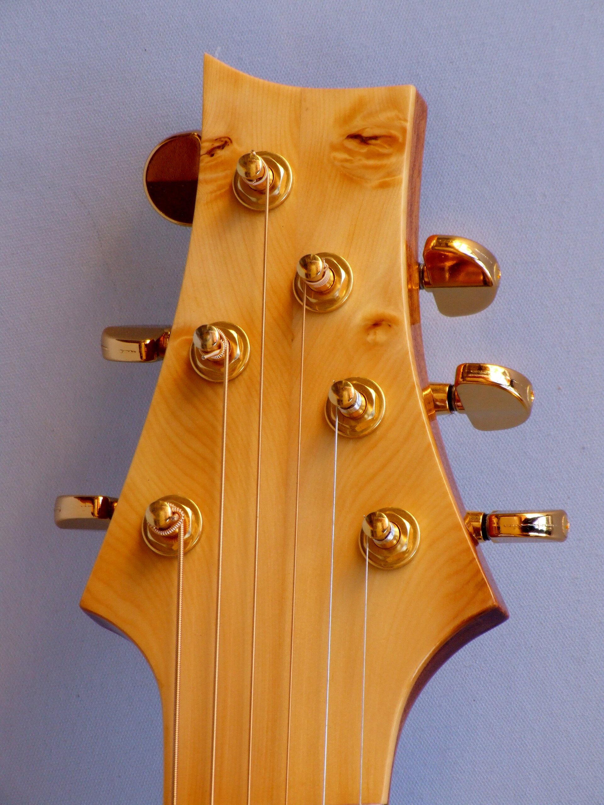 Huon pine headstock facing on The Shed guitar