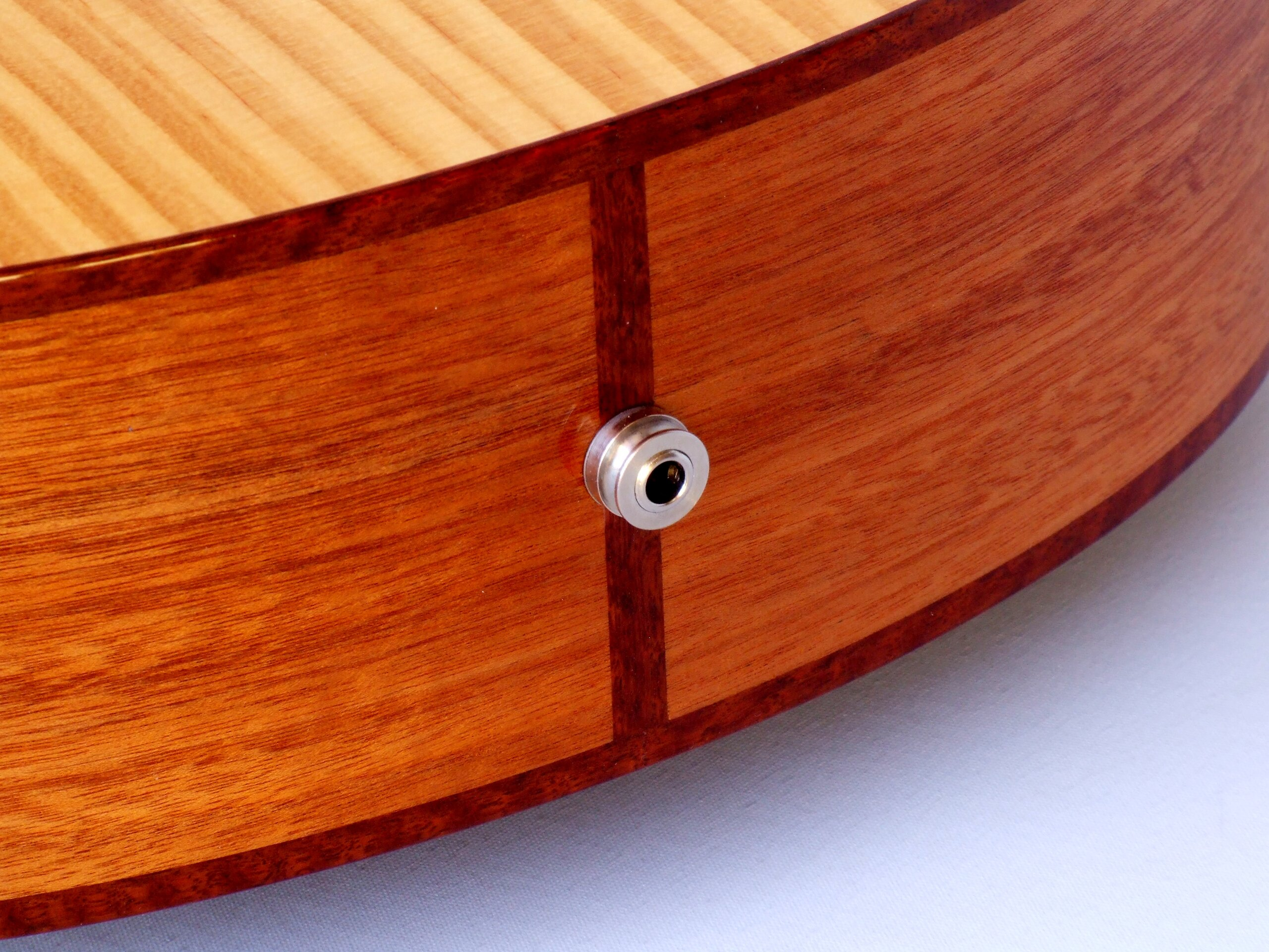Jarrah butt inlay and jack socket on the Shed guitar