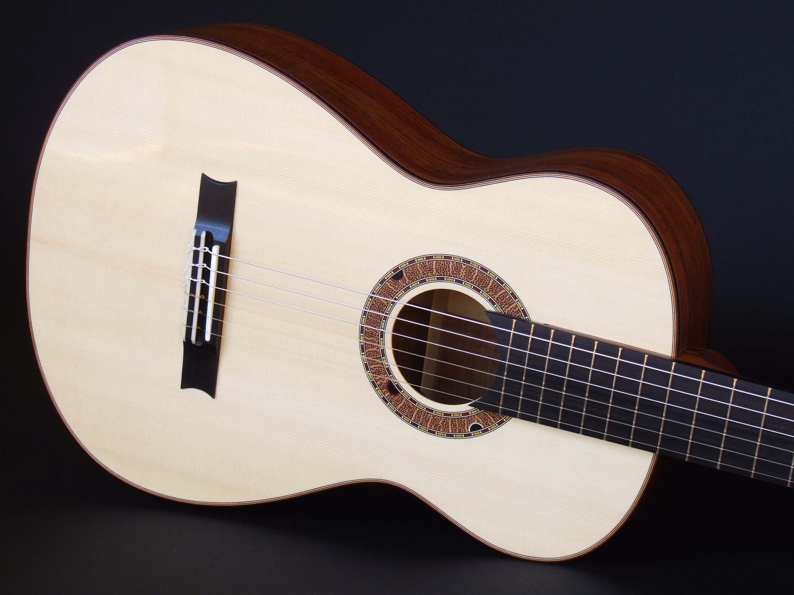 Gore small body spruce topped classical guitar with Australiana rosette