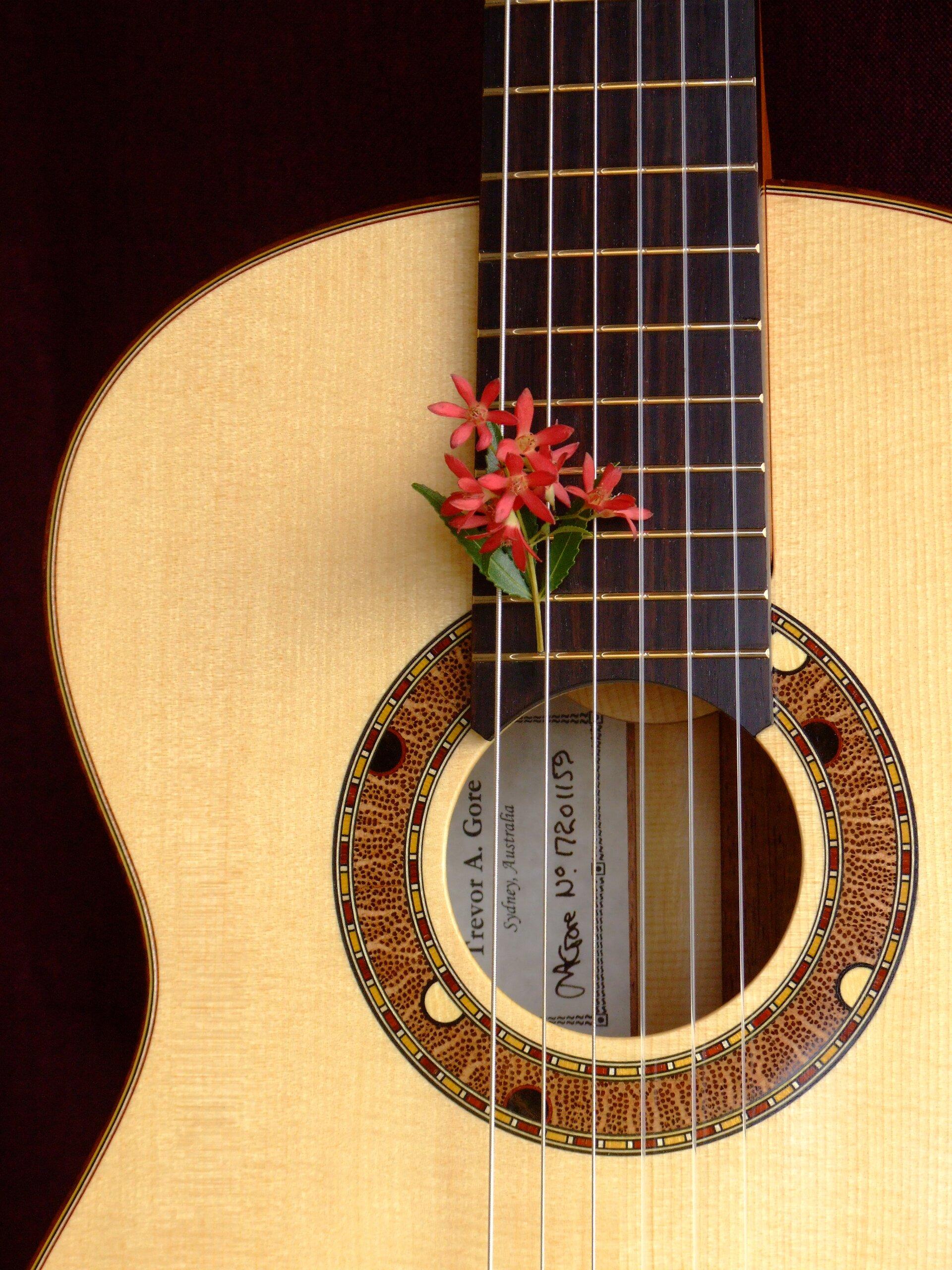 Australiana rosette in a spuce topped tilt-neck classical guitar with Christmas flower