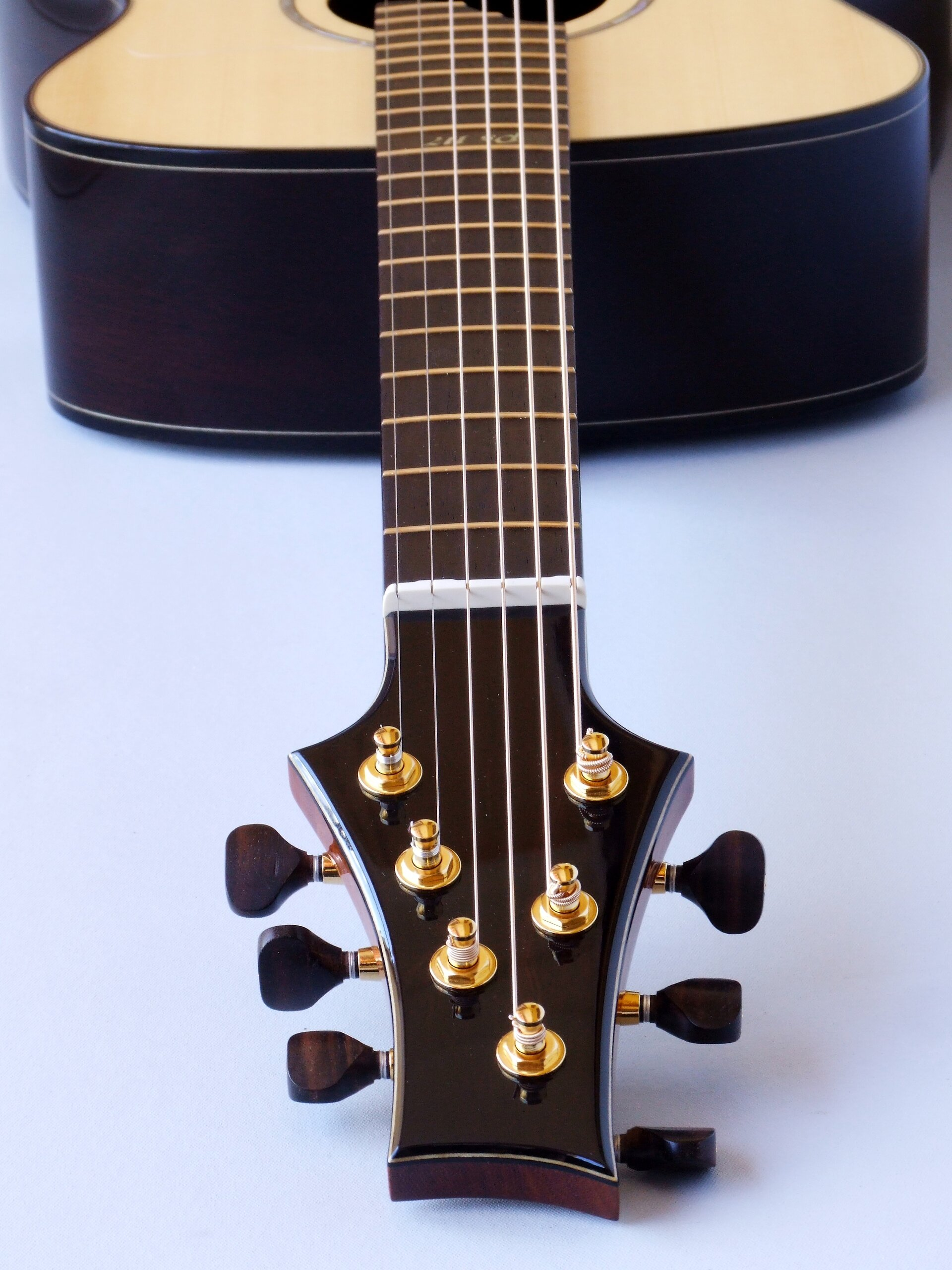 View down the neck of a straight string pull guitar