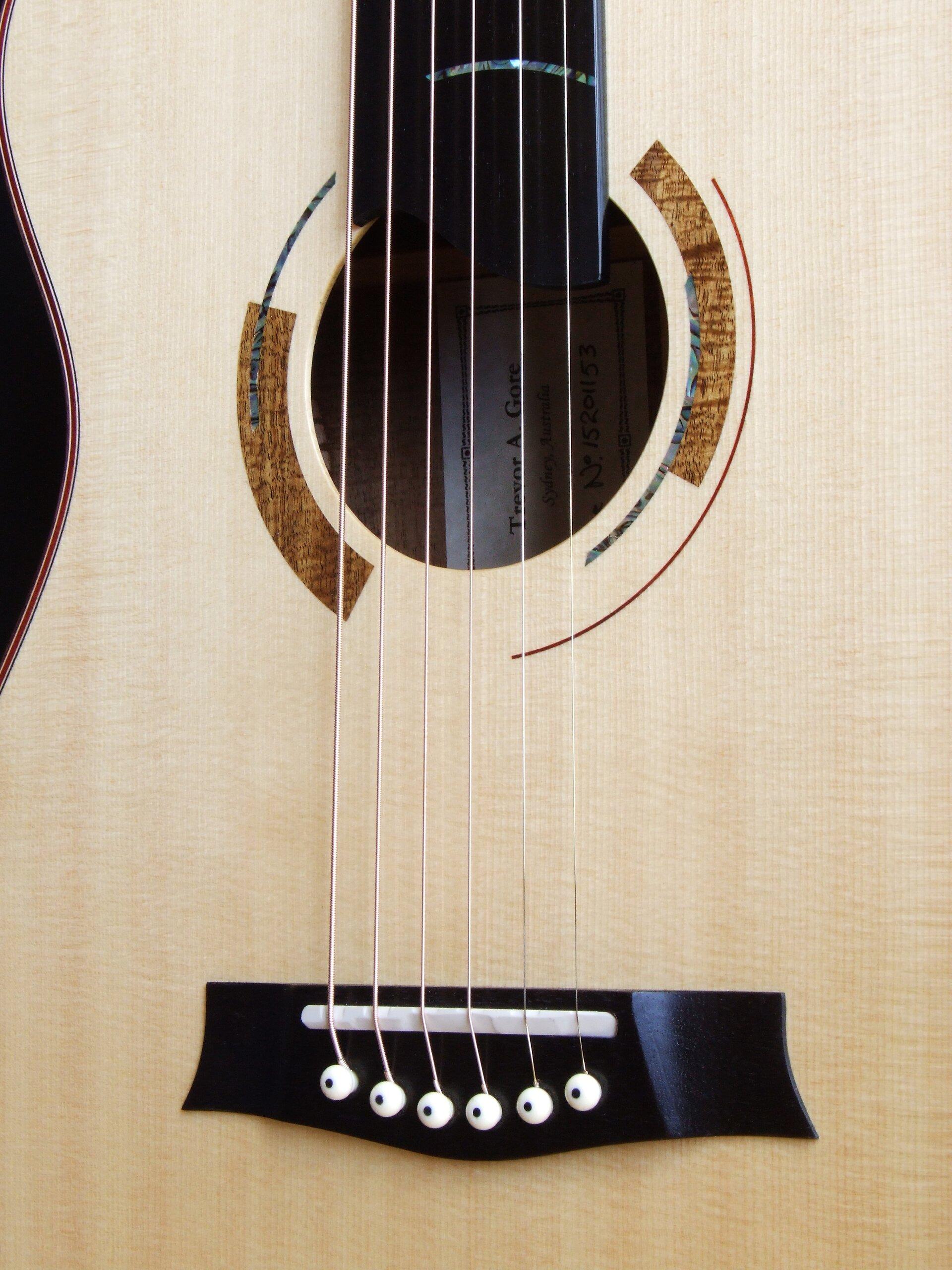 Art deco rosette on a Trevor Gore guitar