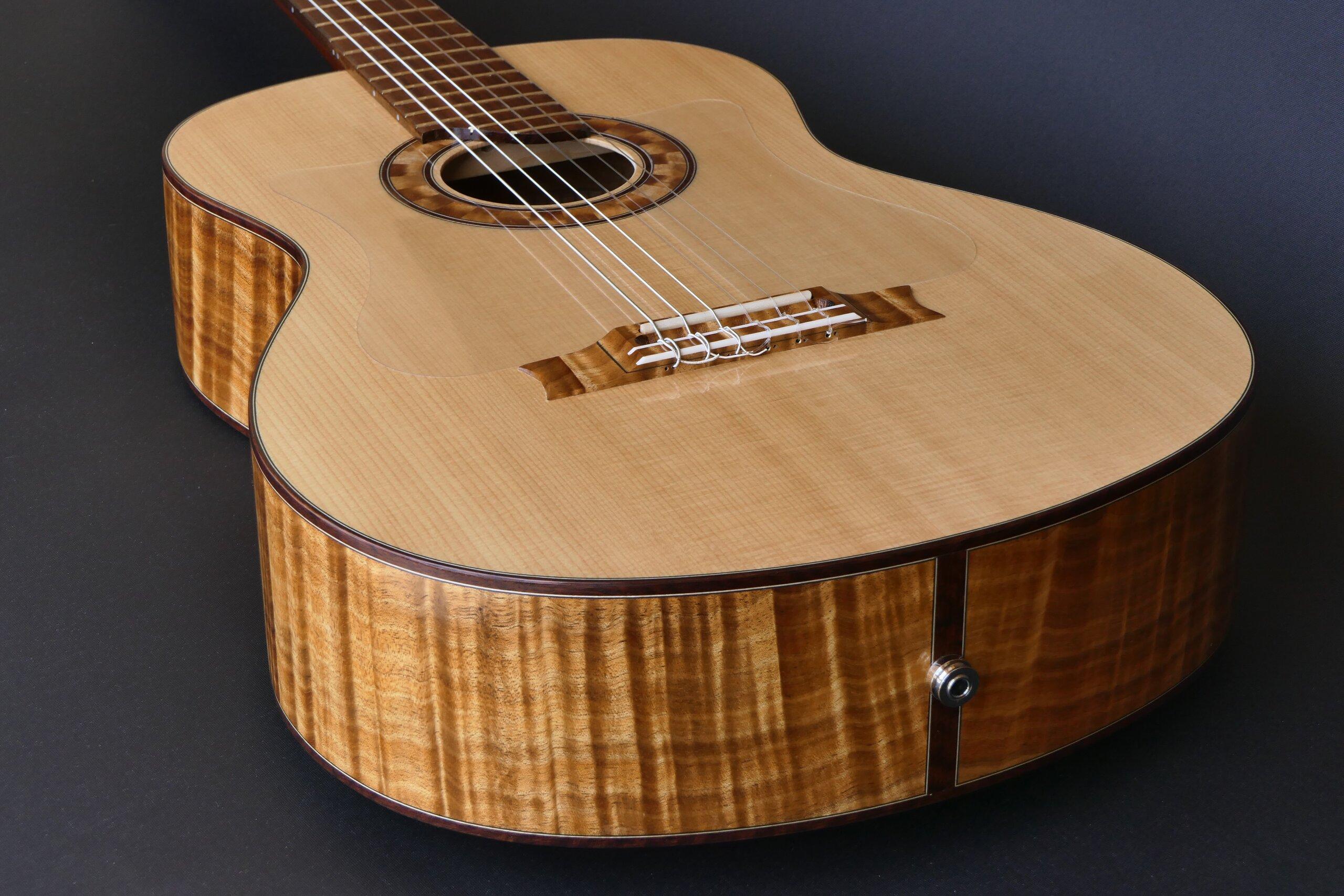 Figured low density blackwood flamenco guitar