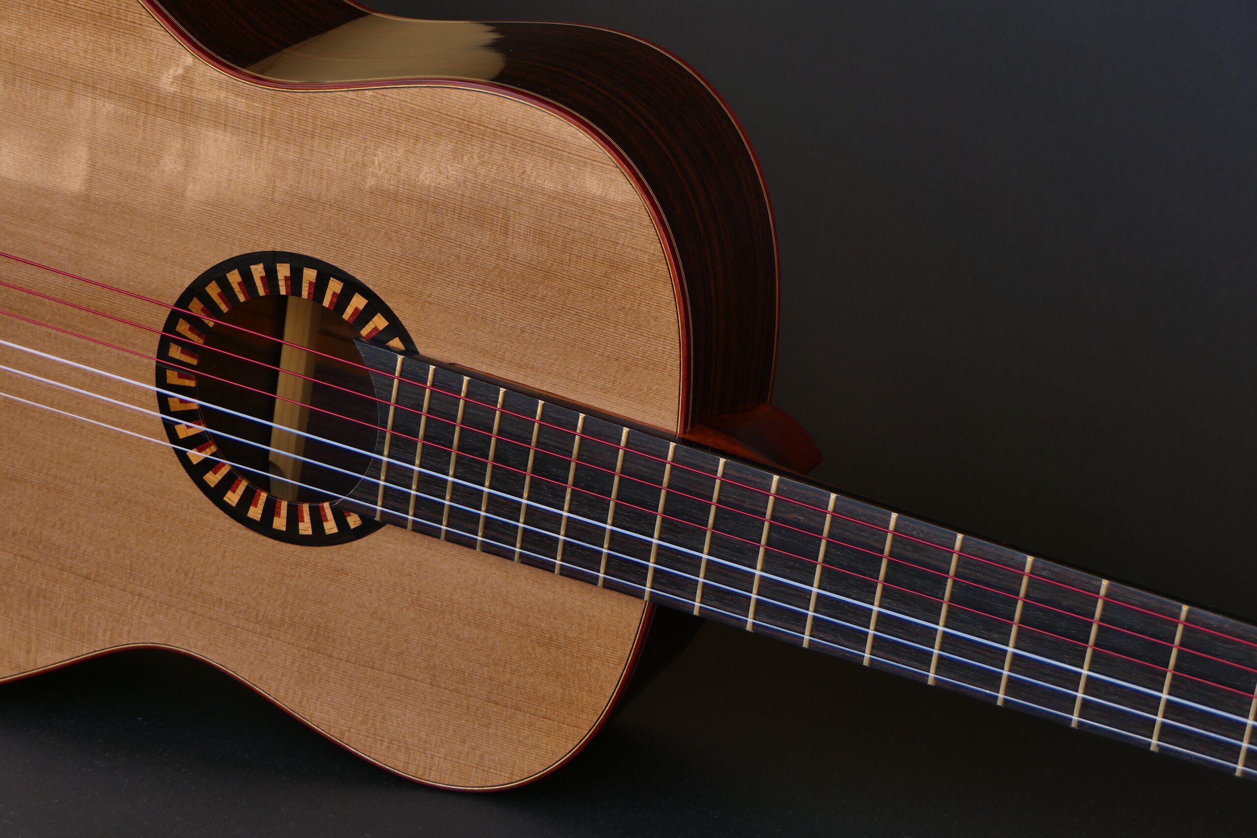 Classical guitar with cedar top and art deco inspired rosette
