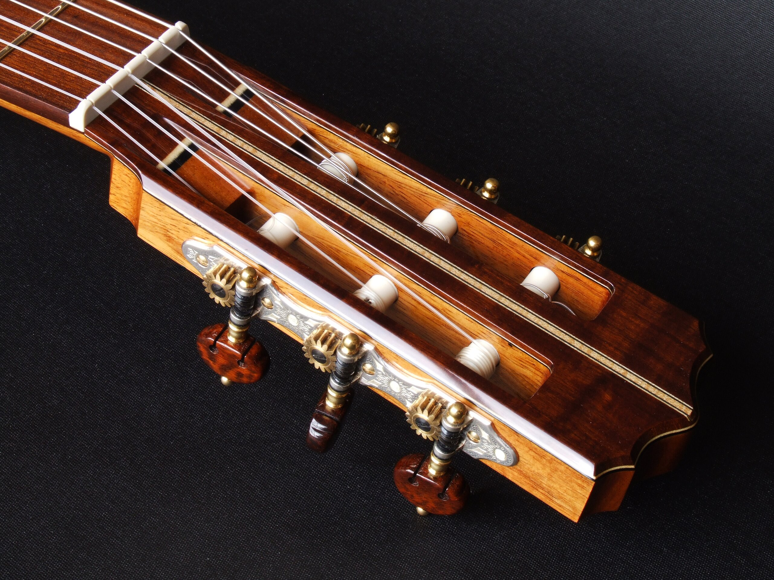 Gidgee faced headstock with Rodgers tuners on a classical guitar