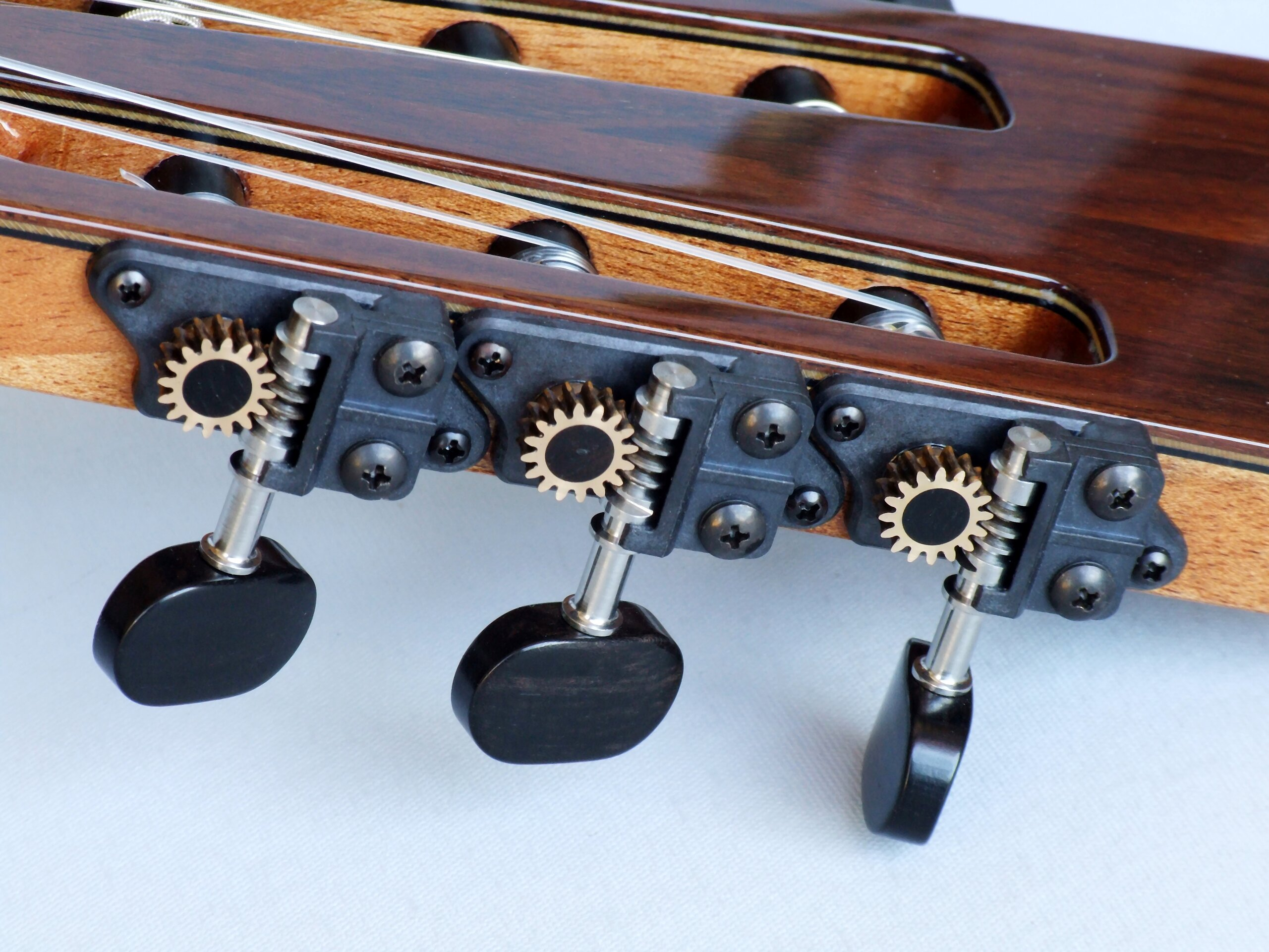 Gilbert tuners on a Gore classical guitar headstock