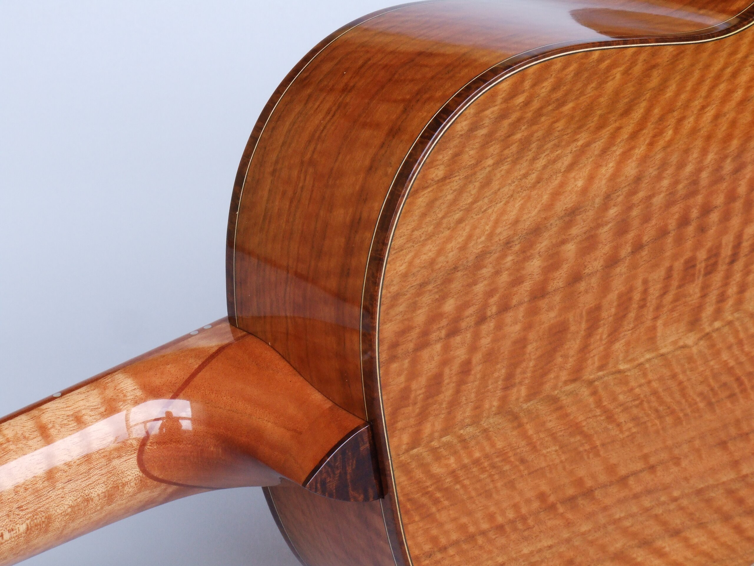 Trevor Gore super-parlour guitar with figured Wandoo back and sides and tilt neck