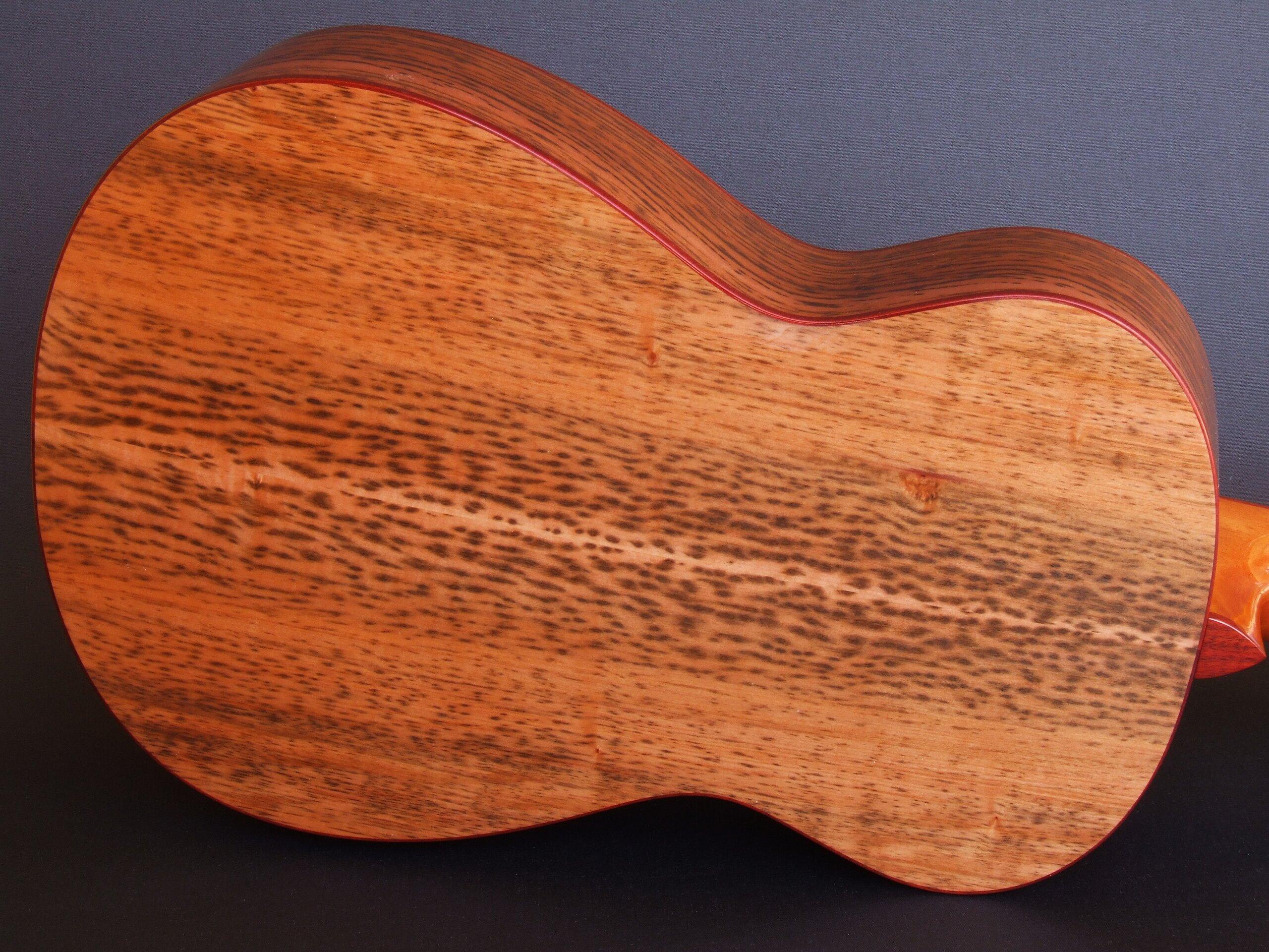 Tiger mytle back of a Trevor Gore super-parlour guitar
