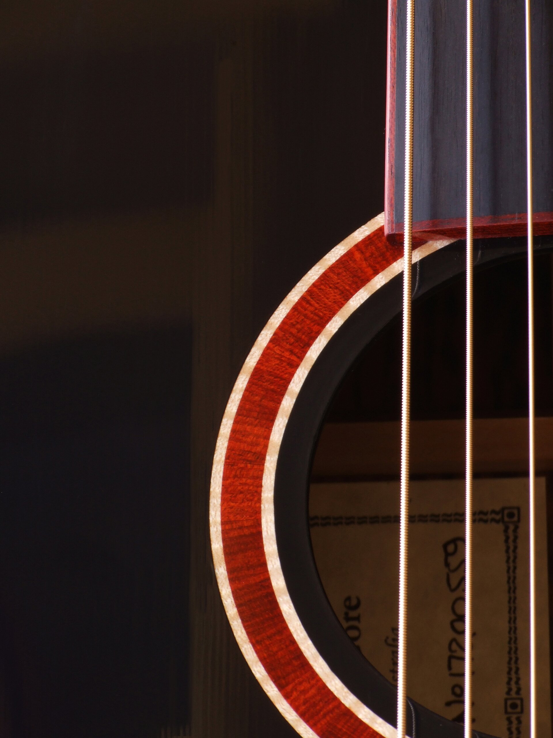 Gore guitar with a black top, figured maple purfling around a bloodwood rosette